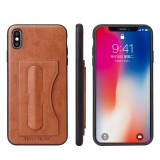 Fierre Shann Full Coverage Protective Leather Case for iPhone XS Max, with Holder & Card Slot (Brown)