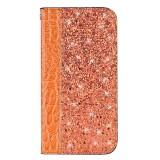 Crocodile Texture Glitter Powder Horizontal Flip Leather Case for iPhone X / XS, with Card Slots & Holder (Orange)