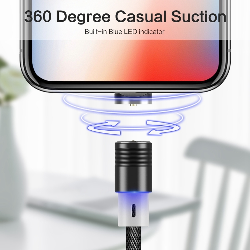 FLOVEME 1m 2A Output 360 Degrees Casual USB to 8 Pin Magnetic Charging Cable, Built-in Blue LED Indicator For iPhone XR / iPhone XS MAX / iPhone X & XS / iPhone 8 & 8 Plus / iPhone 7 & 7 Plus / iPhone 6 & 6s & 6 Plus & 6s Plus / iPad (Blue)