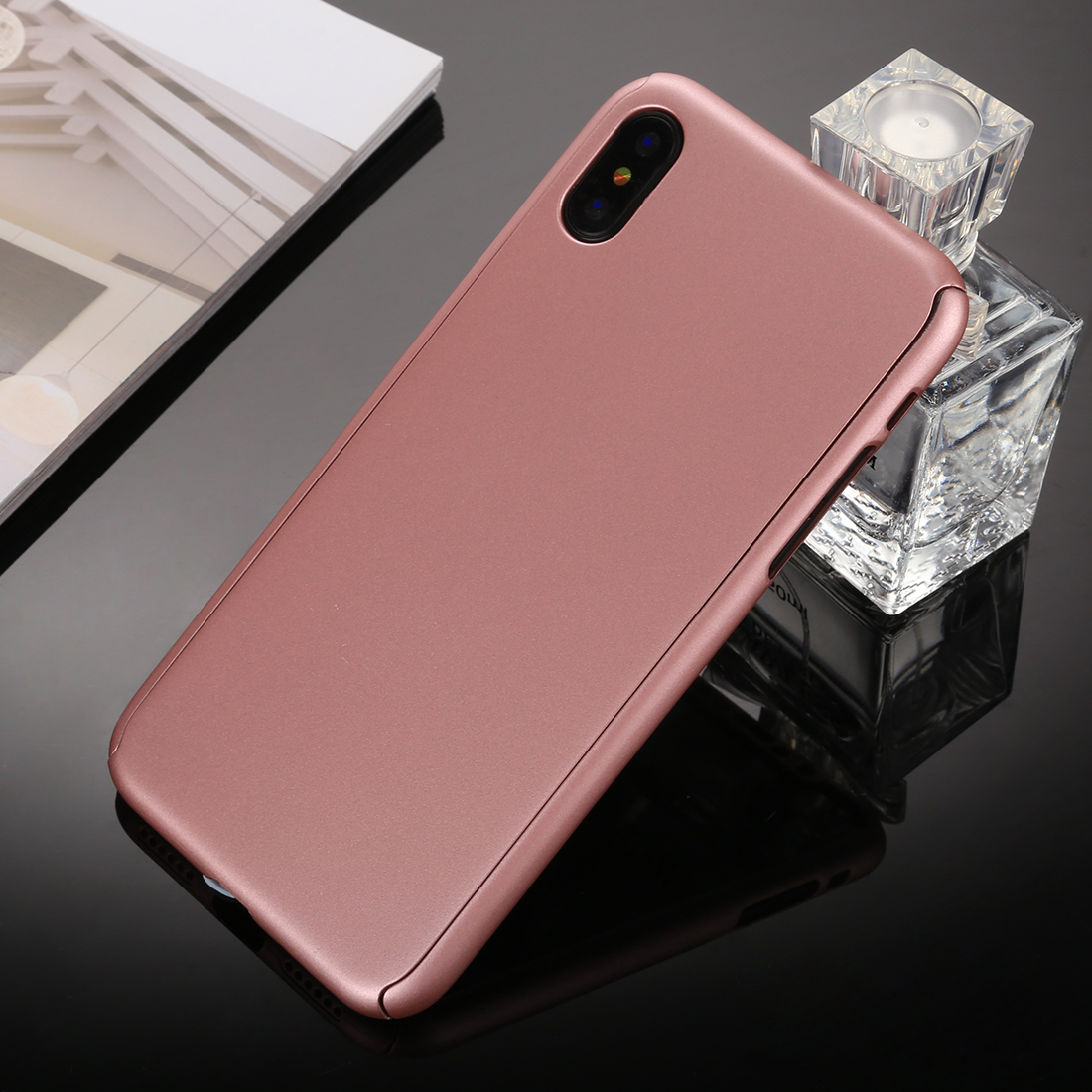 360 Degrees Full Coverage Detachable PC Case with Tempered Glass Film for  iPhone XS Max (Rose Gold)