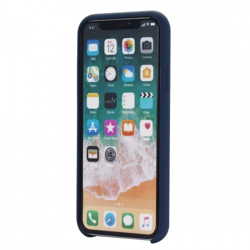 Four Corners Full Coverage Liquid Silicone Protective Case Back Cover for iPhone XR 6.1 inch (Blue)