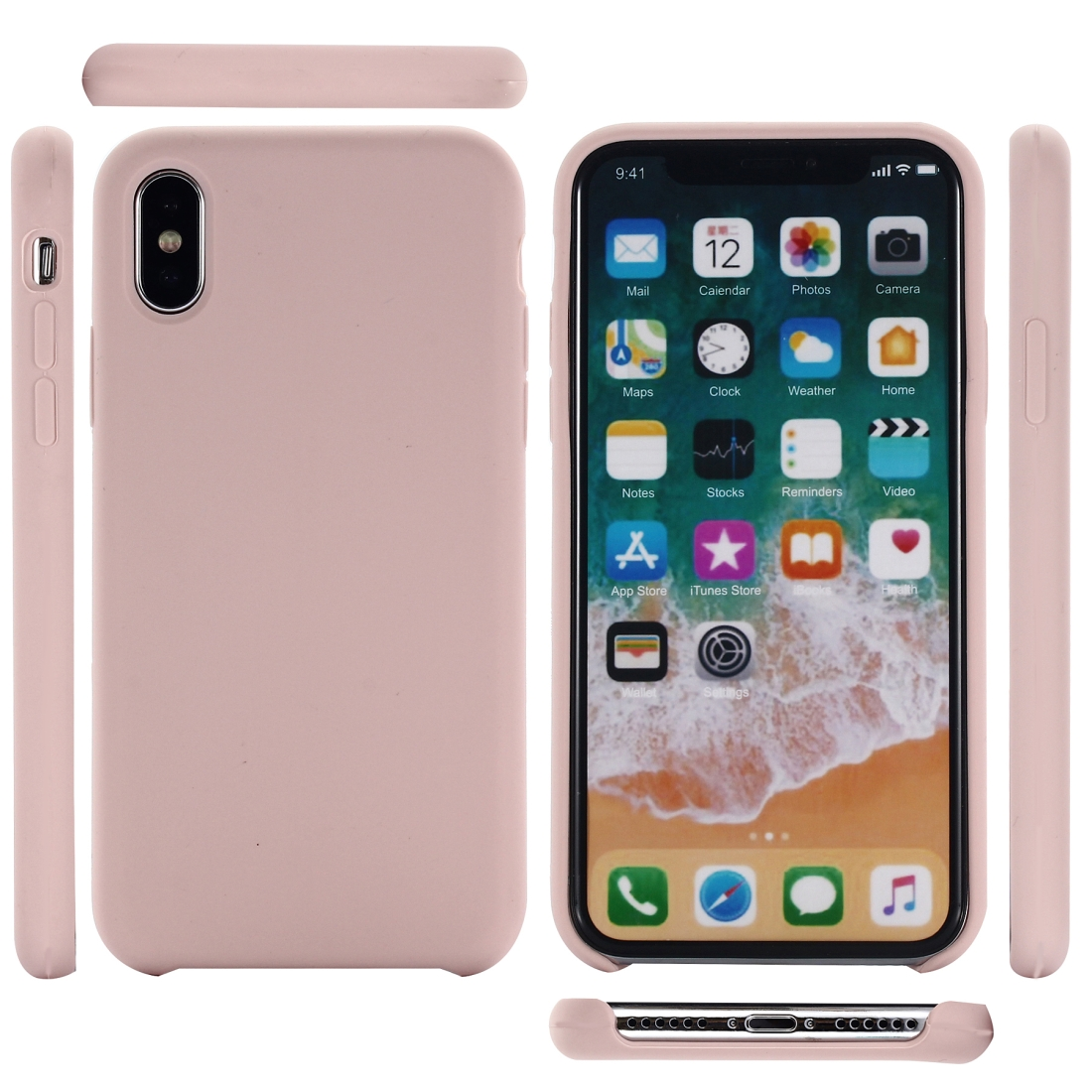 Four Corners Full Coverage Liquid Silicone Protective Case Back Cover for iPhone XR 6.1 inch (Rose Gold)