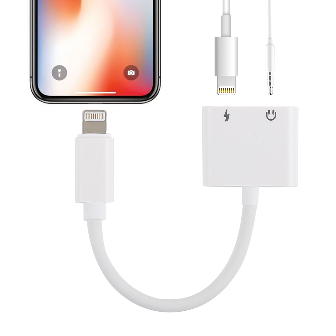 GL011 2 in 1 8 Pin Female + 3.5mm Female to 8 Pin Male Audio Charging Adapter, For iPhone XR / iPhone XS MAX / iPhone X & XS / iPhone 8 & 8 Plus / iPhone 7 & 7 Plus / iPhone 6 & 6s & 6 Plus & 6s Plus / iPad (White)