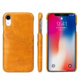 Fierre Shann Retro Oil Wax Texture PU Leather Case for iPhone XR, with Card Slots (Yellow)