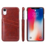 Fierre Shann Retro Oil Wax Texture PU Leather Case for iPhone XR, with Card Slots (Brown)