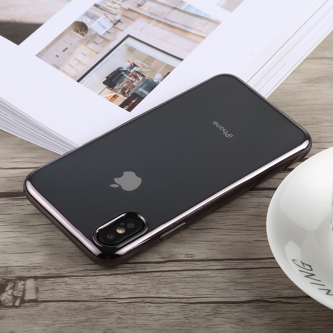 TOTUDESIGN Jane Series Electroplating TPU Case for iPhone X / XS (Grey)