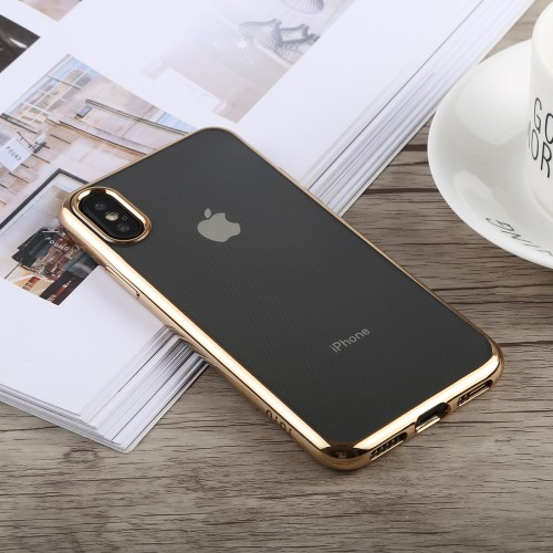TOTUDESIGN Jane Series Electroplating TPU Case for iPhone X / XS (Gold)