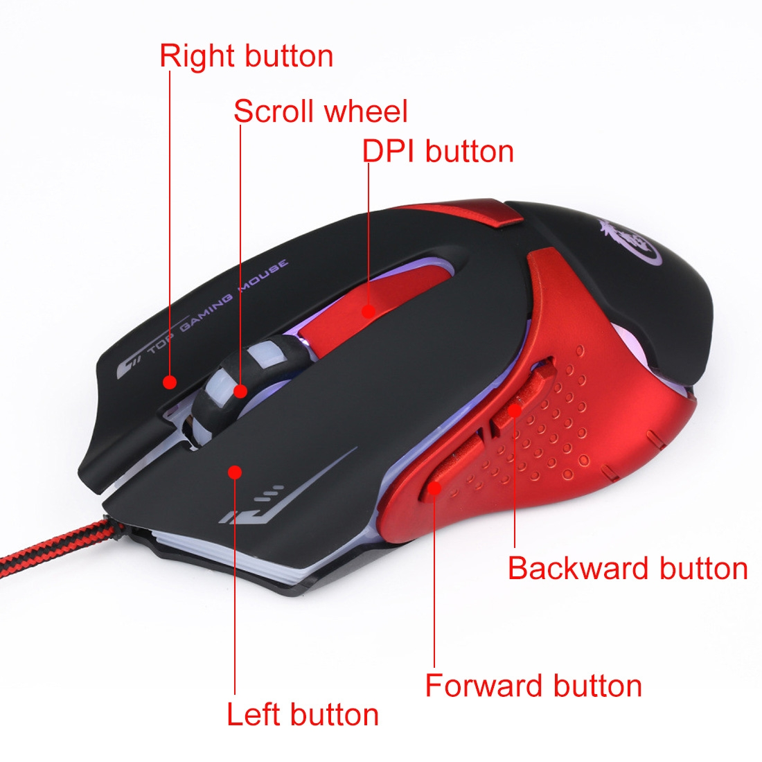 Ergonomic Optical Gaming Mice Adjustable 3200 DPI Breathing LED Light 6 Buttons