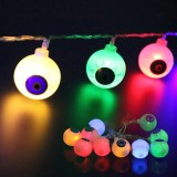 2.5m Ghost Eyes Design Colorful Light Halloween Series LED String Light, 20 LEDs 3 x AA Batteries Box Operated Party Props Fairy Decoration Night Lamp