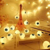 2.5m Ghost Eyes Design Warm White Light Halloween Series LED String Light, 20 LEDs 3 x AA Batteries Box Operated Party Props Fairy Decoration Night Lamp