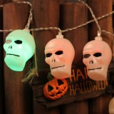 2.5m Skinny Face Ghost Head Design Colorful Light Halloween Series LED String Light, 20 LEDs 3 x AA Batteries Box Operated Party Props Fairy Decoration Night Lamp