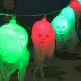 2.5m Gauze Ghost Head Design Colorful Light Halloween Series LED String Light, 20 LEDs 3 x AA Batteries Box Operated Party Props Fairy Decoration Night Lamp