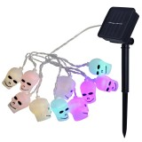 2.5m Ghost Head Design Colorful Light Halloween Series Solar Powered LED String Light, 20 LEDs Party Props Fairy Decoration Night Lamp