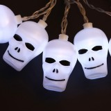 2.5m Ghost Head Design White Light Halloween Series Solar Powered LED String Light, 20 LEDs Party Props Fairy Decoration Night Lamp