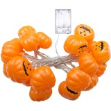 2.5m Pumpkin Design Yellow Light Halloween Series LED String Light, 20 LEDs 3 x AA Batteries Box Operated Party Props Fairy Decoration Night Lamp