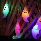 2.5m Ghost Design Colorful Light Halloween Series LED String Light, 20 LEDs 3 x AA Batteries Box Operated Party Props Fairy Decoration Night Lamp