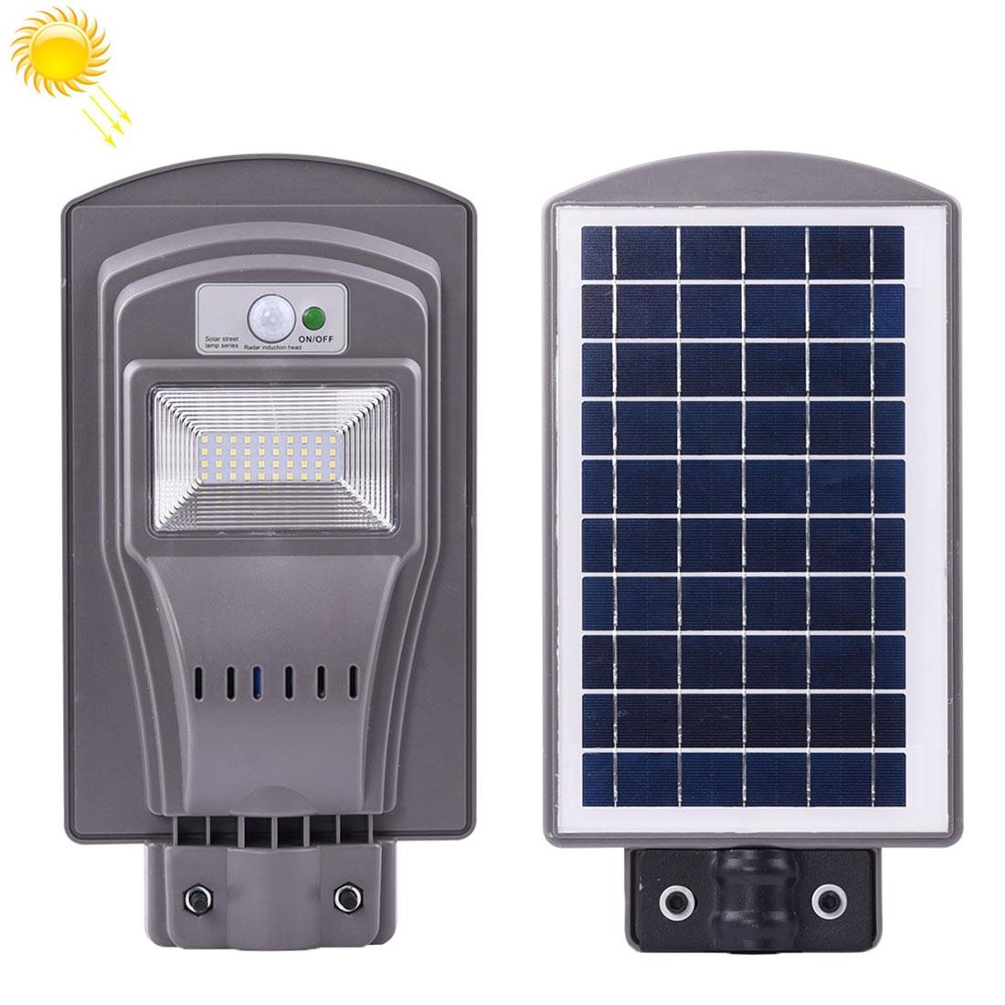 20W IP65 Waterproof Radar Sensor + Light Control Solar Power Street Light, 40 LEDs Energy Saving Outdoor Lamp with 6V / 12W Solar Panel