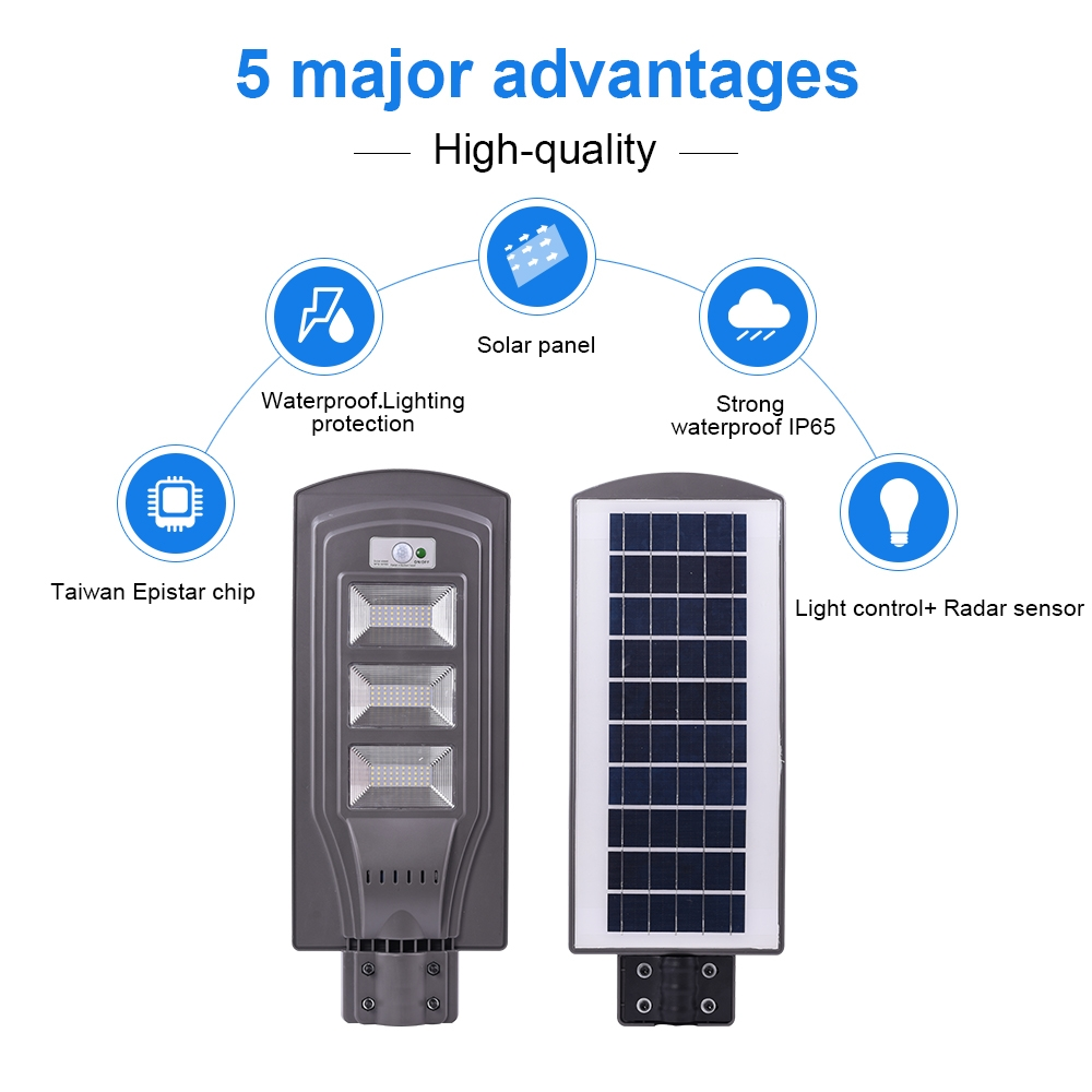 40W IP65 Waterproof Radar Sensor + Light Control Solar Power Street Light, 80 LEDs Energy Saving Outdoor Lamp with 6V / 16W Solar Panel