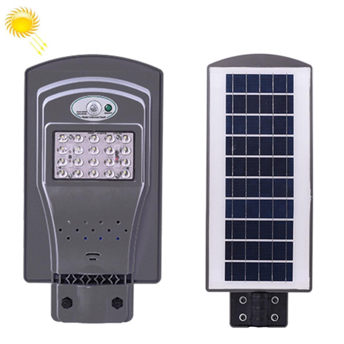 20W IP65 Waterproof Radar Sensor + Light Control Solar Power Street Light, 20 LEDs SMD 3030 Energy Saving Outdoor Lamp with 6V / 12W Solar Panel