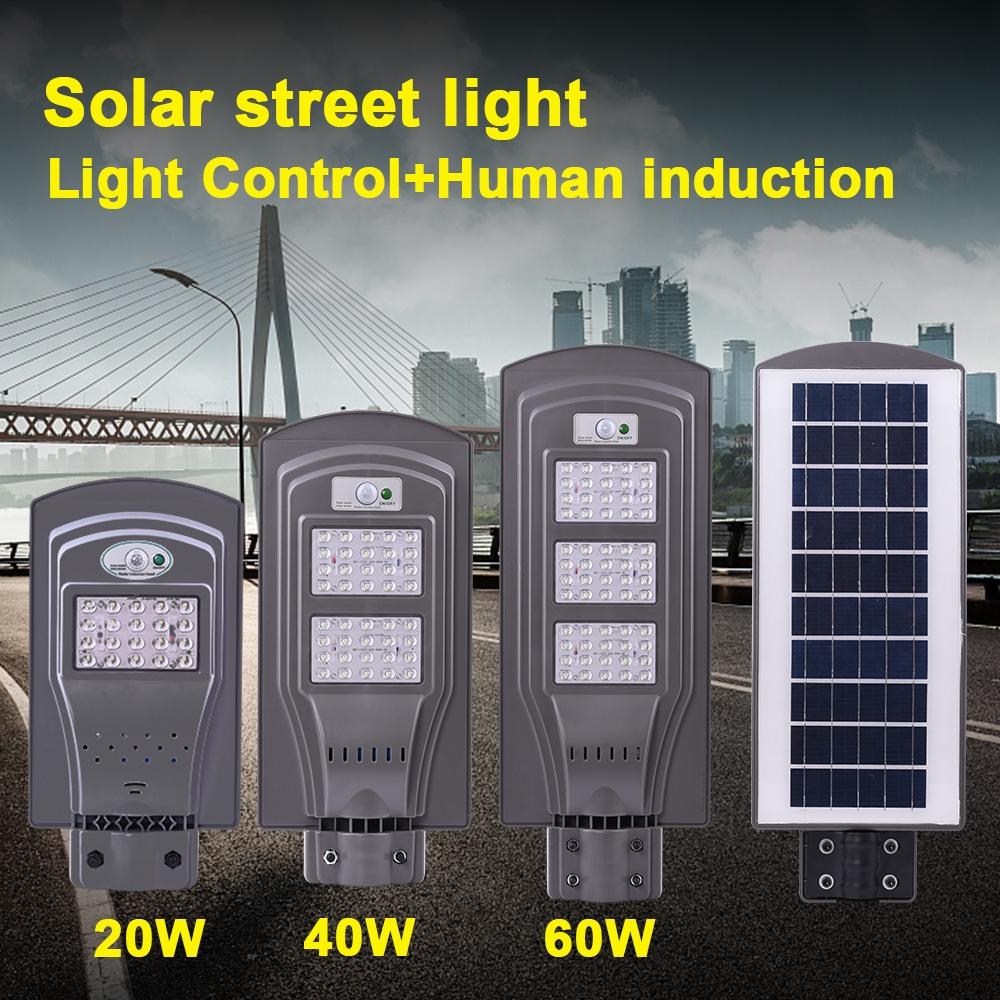 60W IP65 Waterproof Radar Sensor + Light Control Solar Power Street Light, 60 LEDs SMD 3030 Energy Saving Outdoor Lamp with 6V / 20W Solar Panel
