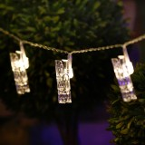 2m Warm White Light Photo Clip LED Fairy String Light, 20 LEDs 3 x AA Batteries Box Chains Lamp Decorative Light for Home Hanging Pictures, DIY Party, Wedding, Christmas Decoration