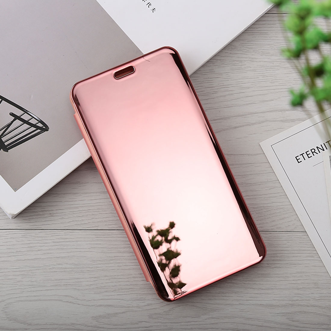 sale retailer bbe37 22266 Mirror Clear View Horizontal Flip PU Leather Case for OnePlus 6, with  Holder (Rose Gold)