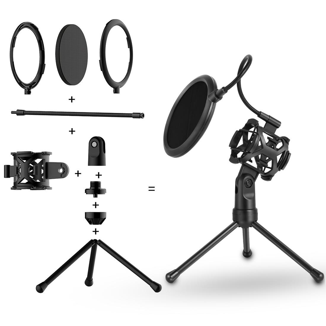 Yanmai PS-2 Recording Microphone Studio Wind Screen Pop Filter Mic Mask Shield, For Studio Recording, Live Broadcast, Live Show, KTV, Online Chat, etc (Black)