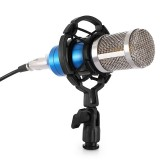 BM-800 3.5mm Studio Recording Wired Condenser Sound Microphone with Shock Mount, Compatible with PC / Mac for Live Broadcast Show, KTV, etc. (Blue)