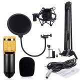 BM-800 Mic Kit Condenser Microphone with Adjustable Mic Suspension Scissor Arm, Shock Mount and Double-layer Pop Filter, For Studio Recording, Live Broadcast, Live Show, KTV, etc. (Black)