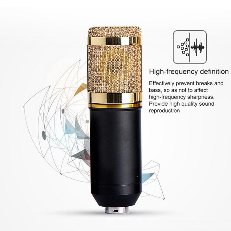 BM-800 Mic Kit Condenser Microphone with Adjustable Mic Suspension Scissor Arm, Shock Mount and Double-layer Pop Filter, For Studio Recording, Live Broadcast, Live Show, KTV, etc. (Black)