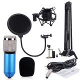 BM-800 Mic Kit Condenser Microphone with Adjustable Mic Suspension Scissor Arm, Shock Mount and Double-layer Pop Filter, For Studio Recording, Live Broadcast, Live Show, KTV, etc. (Blue)