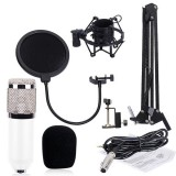 BM-800 Mic Kit Condenser Microphone with Adjustable Mic Suspension Scissor Arm, Shock Mount and Double-layer Pop Filter, For Studio Recording, Live Broadcast, Live Show, KTV, etc. (White)