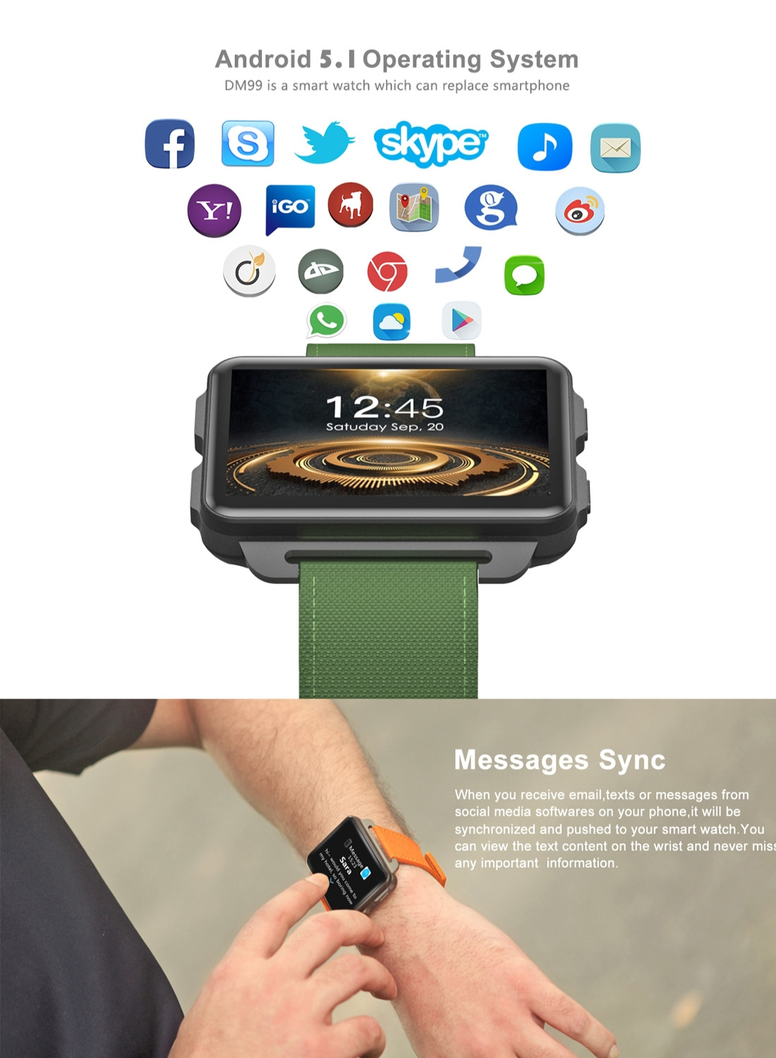 DOMINO DM99 Smart Watch Phone, 1GB+16GB, 2.2 inch Android 5.1, MTK6580 Quad Core 1.3GHz, Network: 3G, 1.3MP Camera / Heart Rate / Pedometer / GPS / WiFi / Bluetooth (Orange)