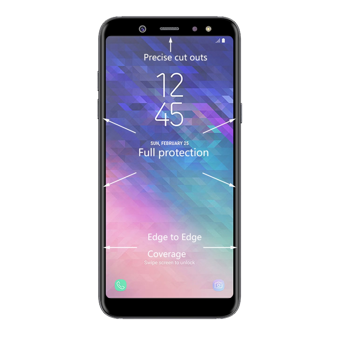 ENKAY Hat-Prince 0.26mm 9H Surface Hardness 3D Curved Full Screen Bent Tempered Glass Color Screen Protector for Galaxy A6 (2018) (Black)