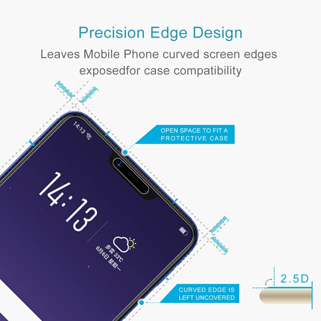 0 26mm 9H 2 5D Tempered Glass Film for OPPO AX5