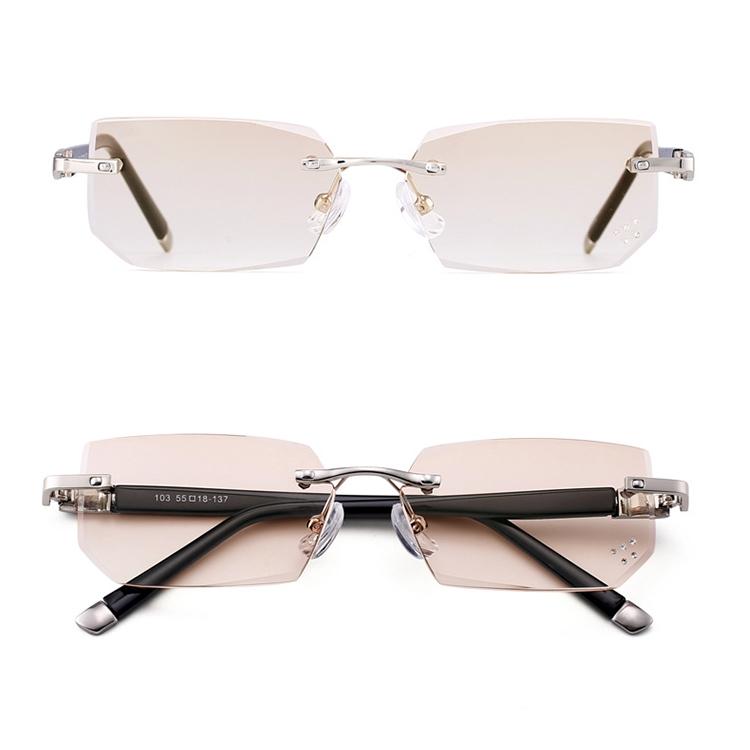Men Anti Fatigue & Blue-ray Rimless Rhinestone Trimmed Presbyopic Glasses, +1.50D