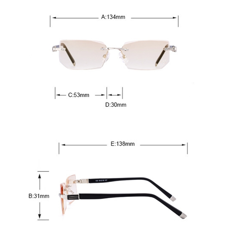 Men Anti Fatigue & Blue-ray Rimless Rhinestone Trimmed Presbyopic Glasses, +2.00D