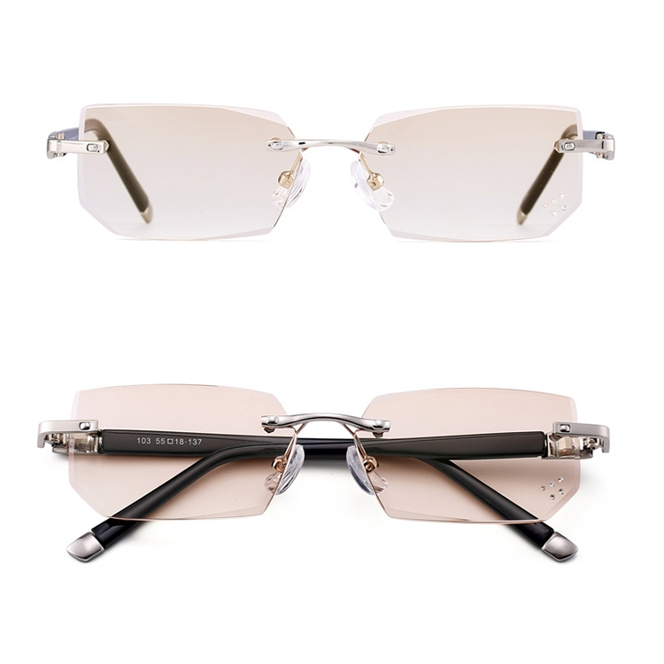 Men Anti Fatigue & Blue-ray Rimless Rhinestone Trimmed Presbyopic Glasses, +2.50D