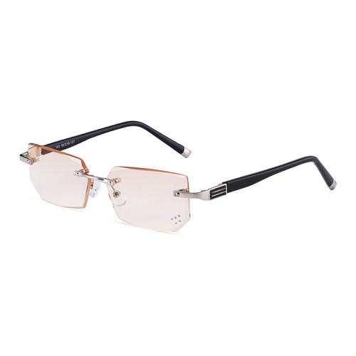 Men Anti Fatigue & Blue-ray Rimless Rhinestone Trimmed Presbyopic Glasses, +3.00D