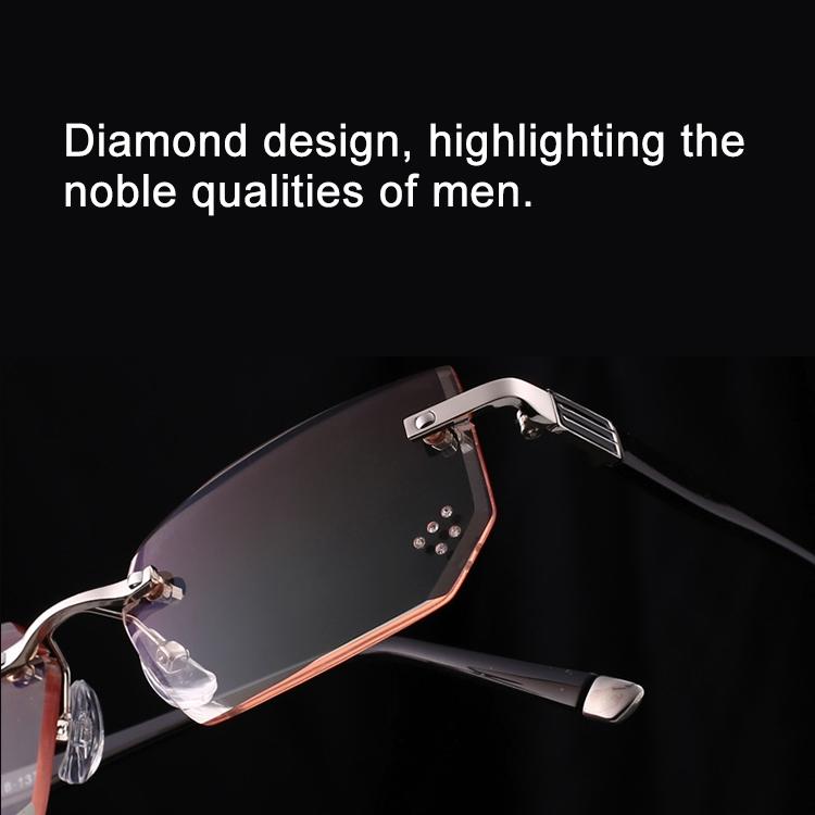 Men Anti Fatigue & Blue-ray Rimless Rhinestone Trimmed Presbyopic Glasses, +3.50D