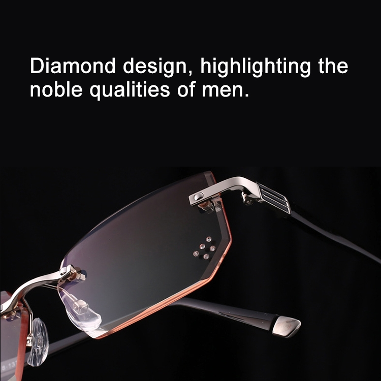 Men Anti Fatigue & Blue-ray Rimless Rhinestone Trimmed Presbyopic Glasses, +4.00D