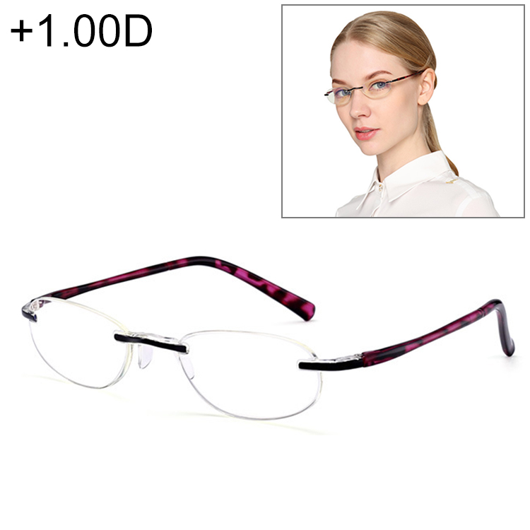 Women Anti Blue-ray Integrated Rimless Presbyopic Glasses, +1.00D