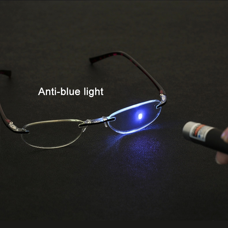 Women Anti Blue-ray Integrated Rimless Presbyopic Glasses, +2.50D