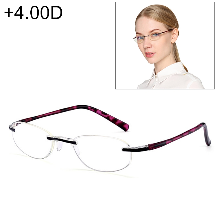 Women Anti Blue-ray Integrated Rimless Presbyopic Glasses, +4.00D