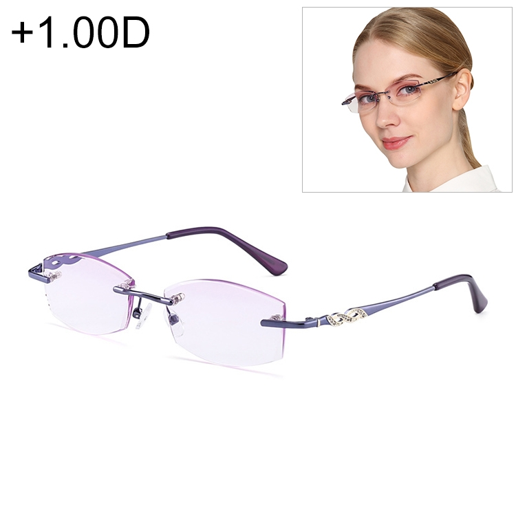 Women Rimless Rhinestone Trimmed Purple Presbyopic Glasses, +1.00D