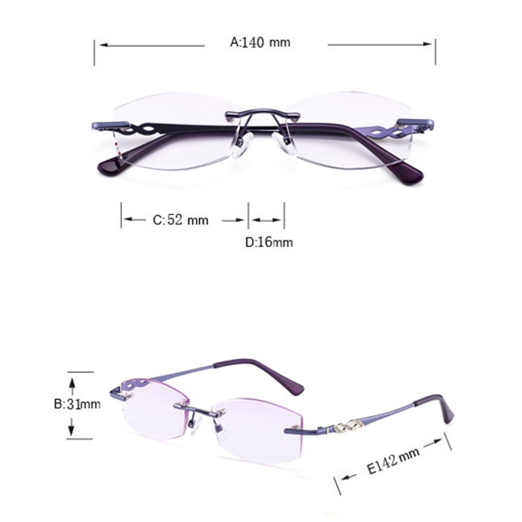 Women Rimless Rhinestone Trimmed Purple Presbyopic Glasses, +2.50D
