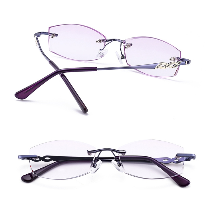 Women Rimless Rhinestone Trimmed Purple Presbyopic Glasses, +3.50D