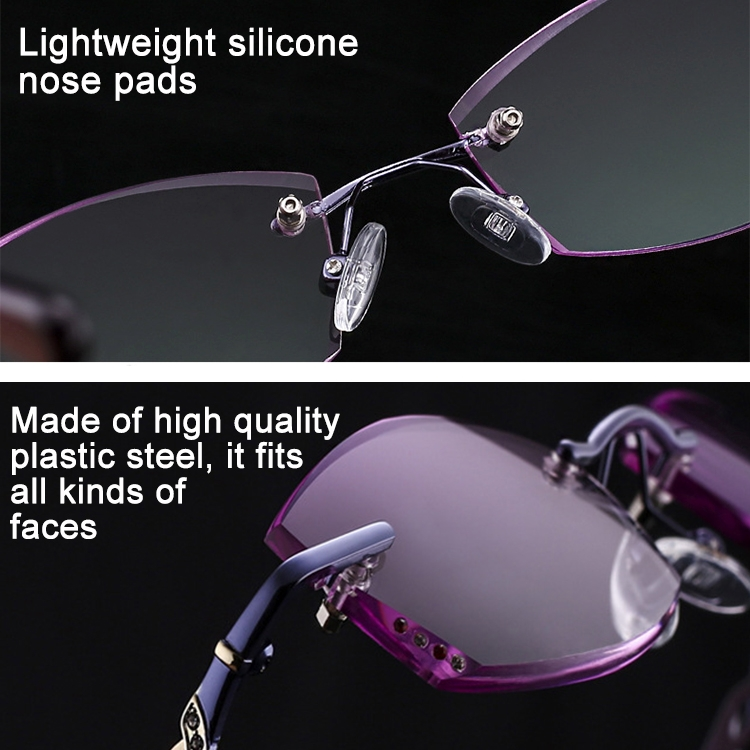 Women Rimless Rhinestone Trimmed Purple Presbyopic Glasses, +4.00D
