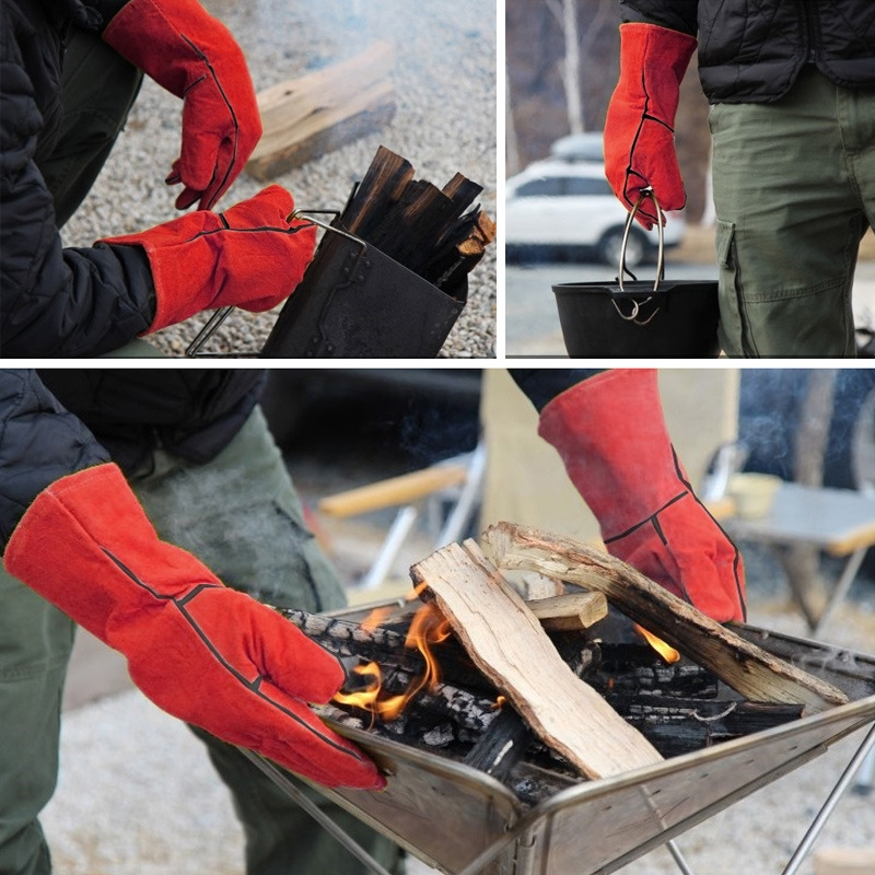 Outdoor BBQ Leather Men and Women Models High Temperature Insulation Thickening Long Welding Protective Gloves