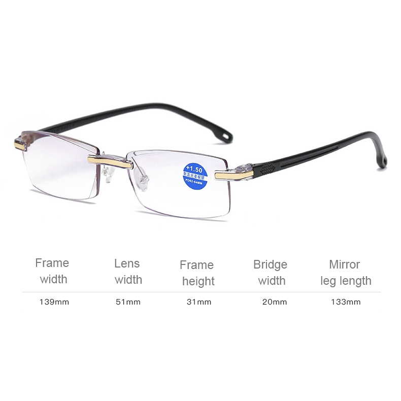Rimless Anti Blue-ray Blue Film Lenses Presbyopic Glasses, +3.50D (Black)